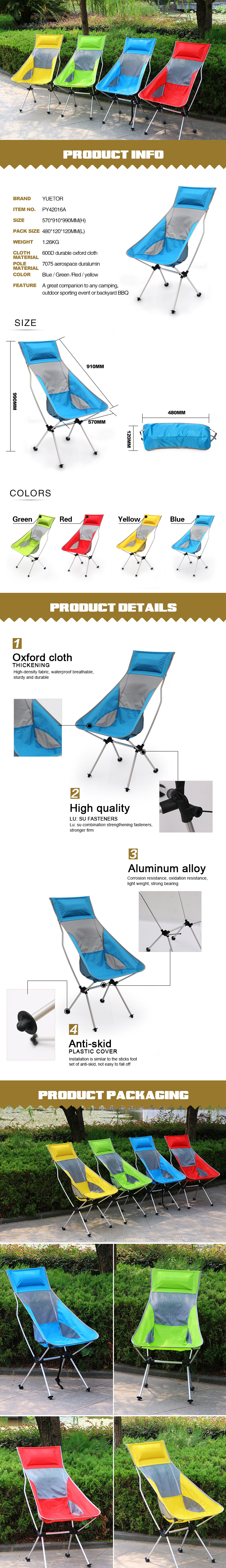 600D durable oxford fabric portable lightweight outdoor camping chair YYY18