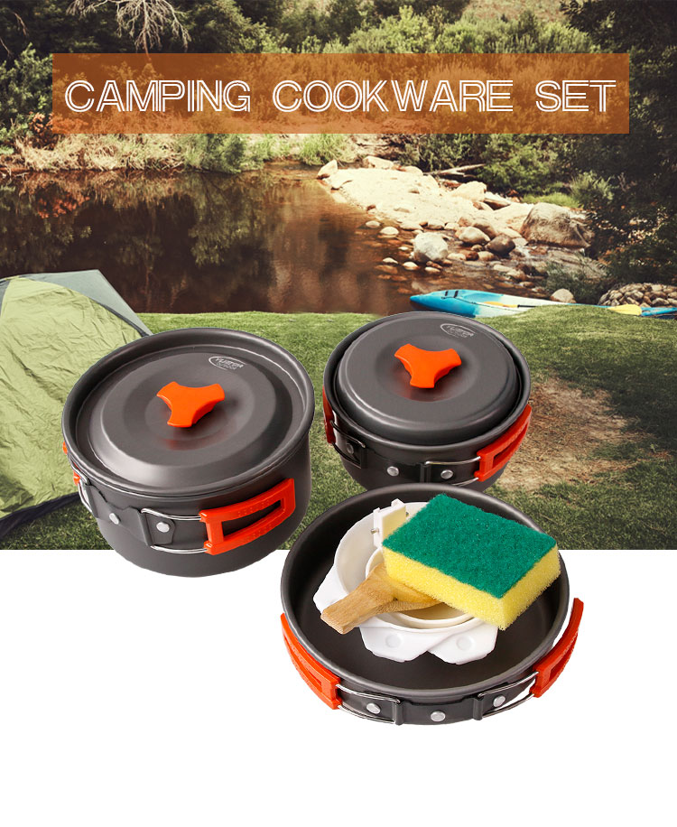 Camping Cookware Mess Kit Backpacking Gear & Hiking Outdoors Bug Out Bag Cooking Equipment Cookset Lightweight, Compact, Durable Pot Pan Bowls GJA01-2 Yuetor Outdoor