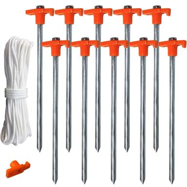Tent Stake Pegs Garden Stakes, 10pcs Galvanized Non-Rust 10'' Pop up Pergolas Canopy Accessories Gazebo Accessories Peg Stakes